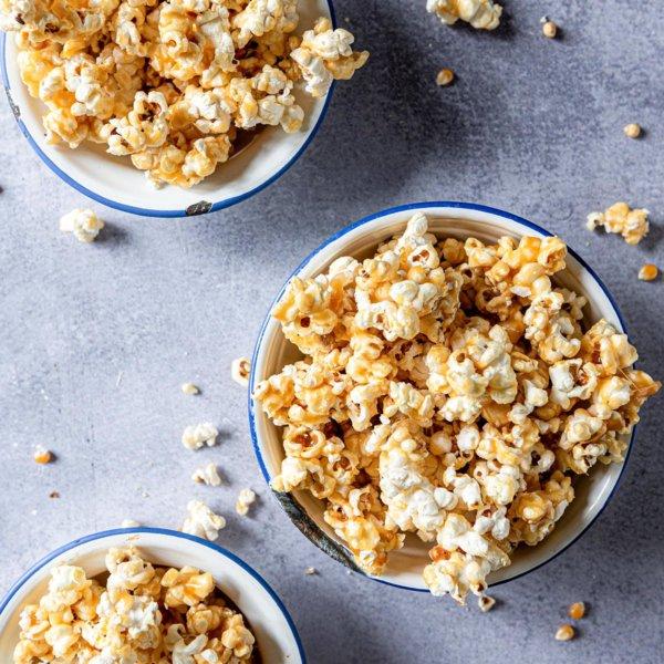 Sweet 'n salty popcorn met salted caramel
