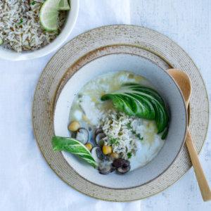 Rijstsoep met paksoi