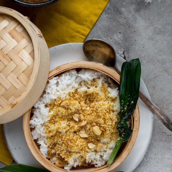 Gestoomde kokosrijst